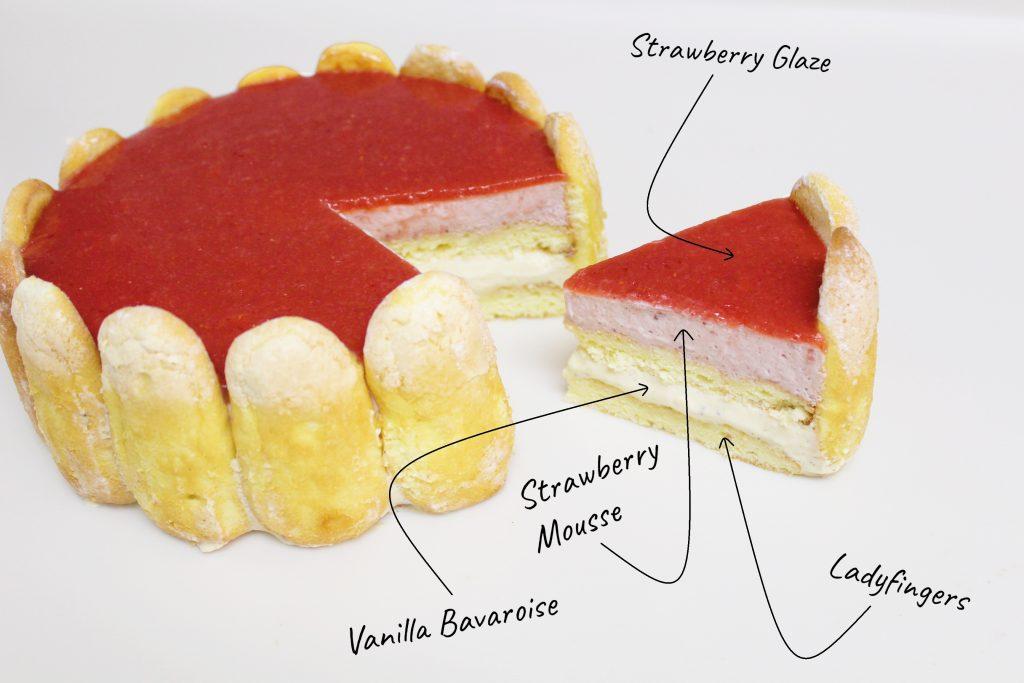 Strawberry Vanilla Charlotte Cake